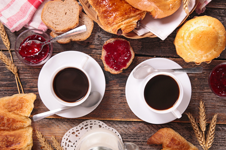 breakfast with coffee cup and pastries