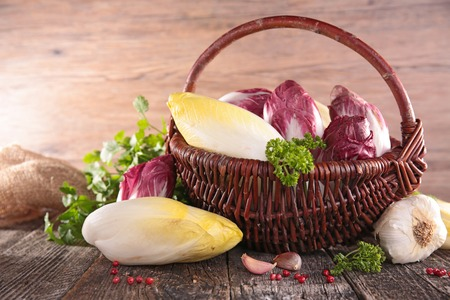 wicker basket with vegetableの写真素材