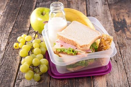 lunch box,school lunch with sandwich
