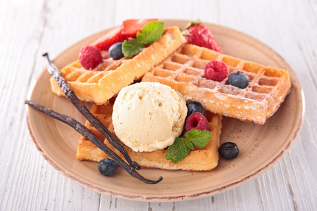 waffles, berry fruit and ice cream