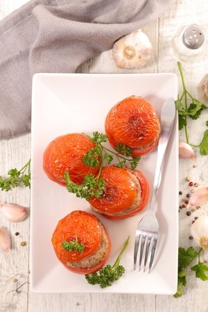 baked tomato filled with beef