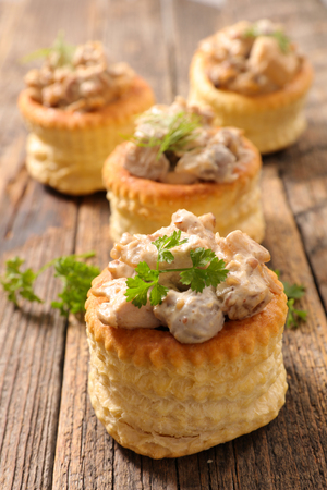 puff pastry stuffed with chicken and cream