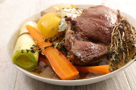pot au feu, beef stew with vegetable