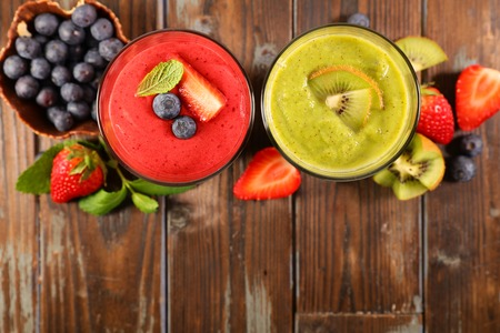Photo for berry smoothie and kiwi smoothie - Royalty Free Image