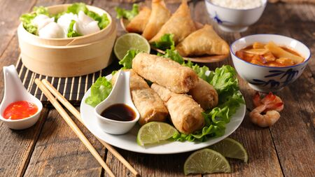 Photo for assorted of asian food- spring roll, noodles soup, dim sum - Royalty Free Image