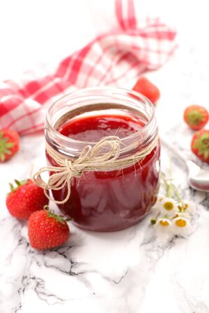 strawberry jam and flower in jard