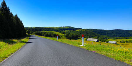 road of aubrac plateau- french landscape