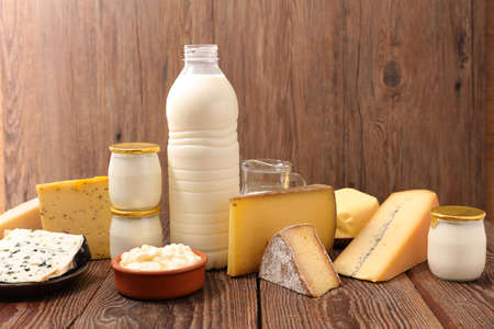 Photo for dairy product assorted on wood background - Royalty Free Image