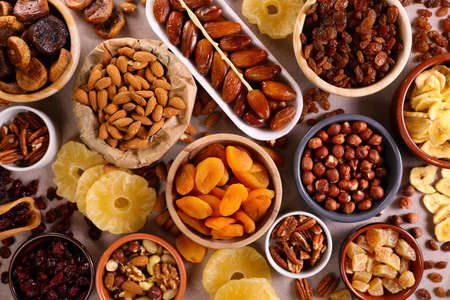 Photo pour assorted nuts and dried fruit background-organic food - image libre de droit
