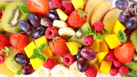 Photo for mixede fresh fruit- top view - Royalty Free Image