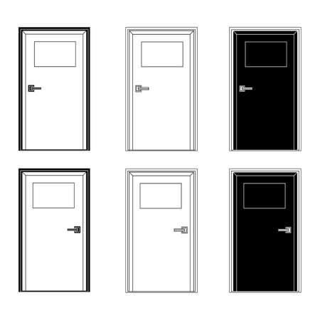 Illustration pour set of doors with a sign in black and white. the door plate is empty, you can write something on it - image libre de droit