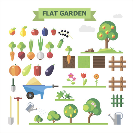 Flat garden, vector set. Elements for game: sprites and tile sets. Vegetables, fruits, trees, groubd, grass, flowers, fences.のイラスト素材