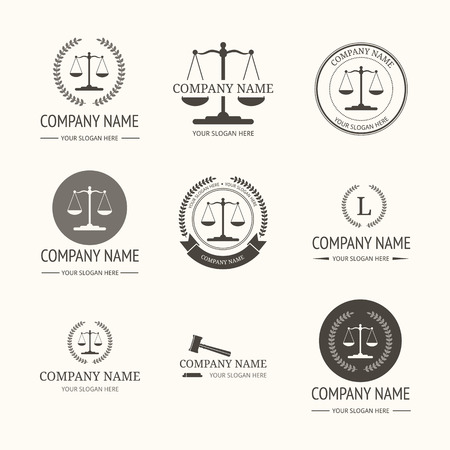 Law firm logo template. Vector set of vintage labels, logotype templates and monogram