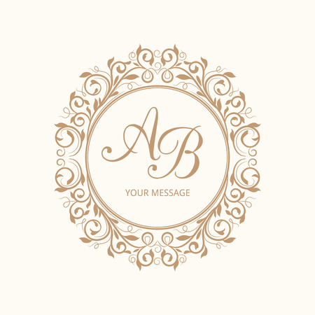 Foto de Elegant floral monogram design template for one or two letters . Wedding monogram. Calligraphic elegant ornament. Vector illustration. - Imagen libre de derechos
