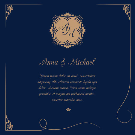 Invitation Card With Monogram On Dark Blue Background