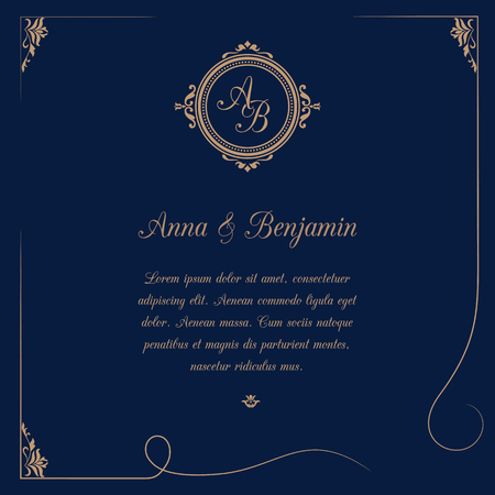 Invitation Card With Monogram On Dark Blue Background