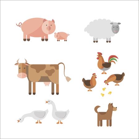 Illustration pour Farm animals in flat style.  - image libre de droit