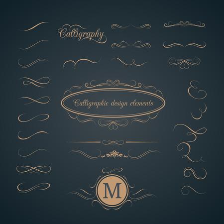 Illustration for Vintage set of calligraphic design elements. Decorative elements, monogram, frame. Can be used for wedding invitation design - Royalty Free Image