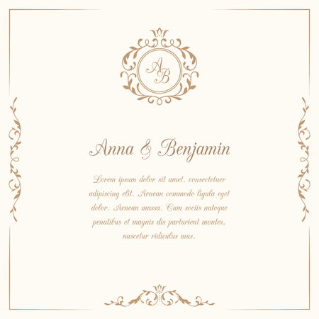 Ilustración de Invitation card with monogram. Wedding invitation, Save The Date. Vintage invitation template. illustration - Imagen libre de derechos