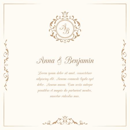 Illustration pour Invitation card with monogram. Wedding invitation, Save The Date. Vintage invitation template. illustration - image libre de droit