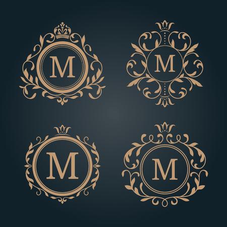 Illustration for Set of elegant floral monogram design templates. Wedding monogram. Calligraphic elegant ornament. Monogram identity for restaurant, hotel, heraldic, jewelry. - Royalty Free Image