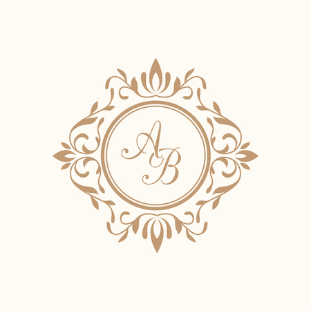 Illustration pour Elegant floral monogram design template for one or two letters . Wedding monogram. Calligraphic elegant ornament. Business sign, monogram identity for restaurant, boutique, hotel, heraldic, jewelry. - image libre de droit