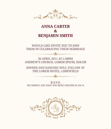 Illustration pour Invitation card with monogram. Wedding invitation, Save The Date. Vintage invitation template. - image libre de droit