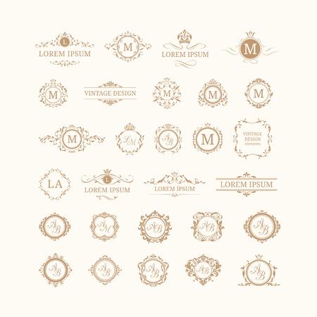 Ilustración de Set of elegant floral monograms and borders. Design templates for invitations, menus, labels. Wedding monograms. Monogram identity for restaurant, hotel, heraldic, jewelry. - Imagen libre de derechos