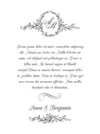 Photo pour Wedding invitation with floral monogram - image libre de droit