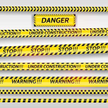Black and yellow stripes set. Warning tapes. Danger signs. Caution ,Barricade tape, stop, under construction scene barrier tape. Vector flat style cartoon illustration