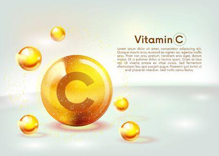 Illustration pour Vitamin C gold shining icon. Ascorbic acid. Shining golden substance drop. Nutrition skin care. Vector illustration. - image libre de droit