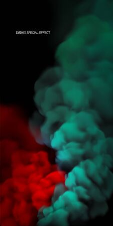 Illustration pour Realistic multi-colored smoke on a black background. isolated fog or smoke, transparent special effect. Bright magic cloud.Abstract illustration for the design of a banner, advertisement or background web site. - image libre de droit
