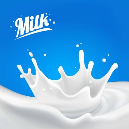 Illustration pour Milk splash 3D.Abstract realistic milk drop with splashes isolated on blue background.element for advertising, package design. vector illustration - image libre de droit