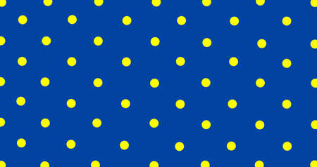 Big yellow polka dots on blue, seamless background. Seamless pattern of large yellow polka dots on a blue background for arts, crafts, fabrics, decorating, albums and scrap books.