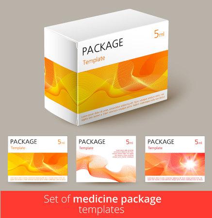 Set of medicine package design with 3d-template. Vector illustration.