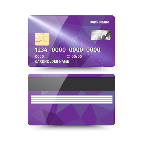 Realistic detailed credit card with abstract geometric purple design isolated on white background.