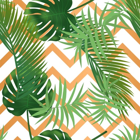Illustration for Summer tropical palm leaves seamless pattern on copper texture stripes. Vector illustration - Royalty Free Image