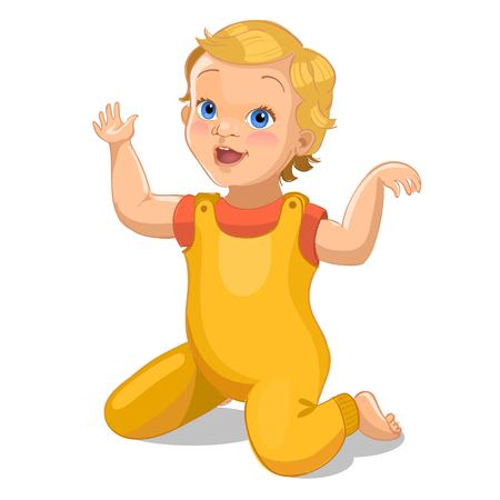 Illustration for Realistic little baby in yellow suit. Cartoon baby character. Vector illustration - Royalty Free Image