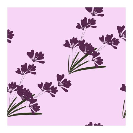 Illustration for Seamless pattern with flowers, buds and lavender leaves. Floral print, ornament, composition with lavender flowers of purple and pink color. Lavender in bouquets on a pink background.. Vector illustration - Royalty Free Image