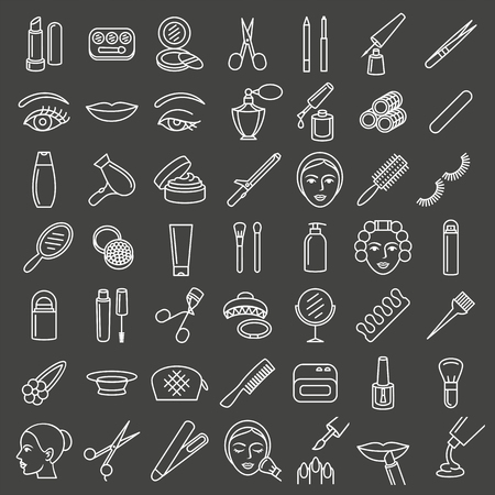 Cosmetic beauty and make up icon set in thin line style, pictogram, symbol