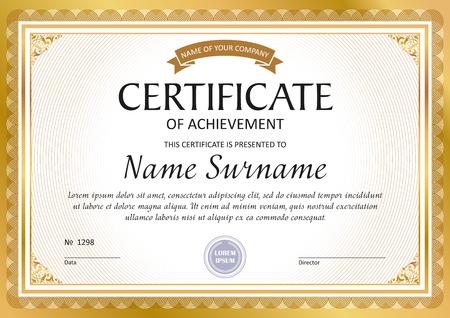 Illustration pour Certificate template, gift voucher, diploma, vintage border - image libre de droit