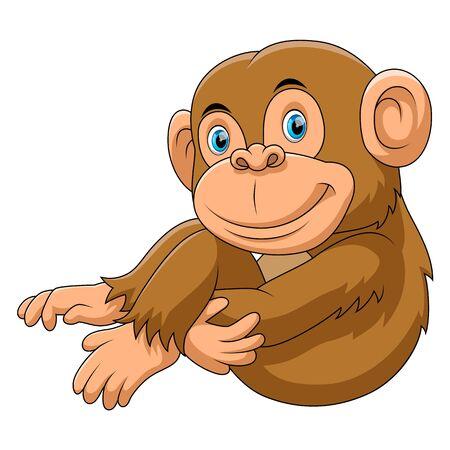 Illustration pour Illustration of monkey sitting cartoon - image libre de droit