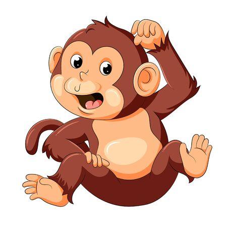 Illustration pour illustration of baby monkey with good posing - image libre de droit