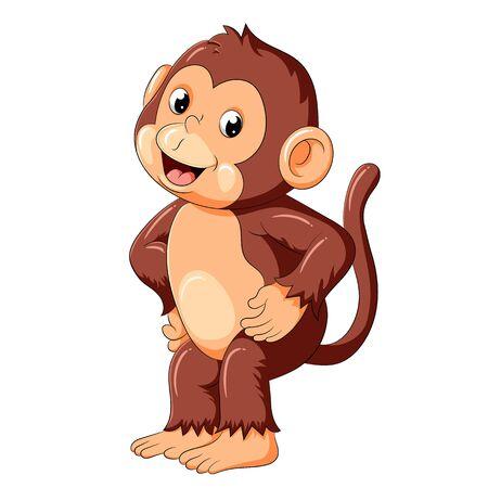 Illustration pour illustration of happy monkey dancing and smile - image libre de droit
