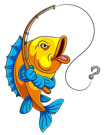 Illustration for illustration of A cartoon fish holding fishing rod - Royalty Free Image