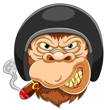Illustration pour Scary Monkey wearing helmet of Racer of illustration - image libre de droit