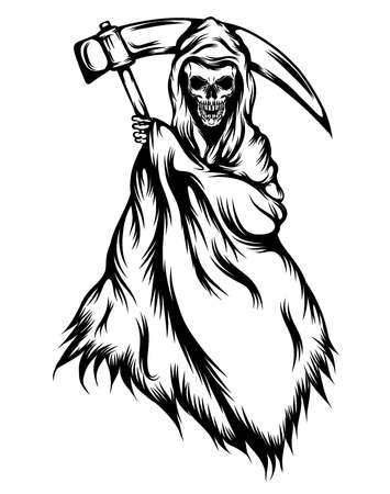 Illustration pour The tattoos illustration of the grim reaper with the black outlines - image libre de droit