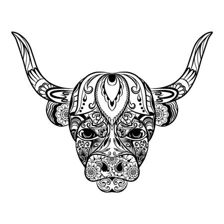 Illustration pour The illustration of the doodle art of the bull full of the flowers ornament - image libre de droit