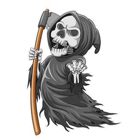Illustration pour The cartoon of the grim reaper with bone and holding the scythe full of color - image libre de droit