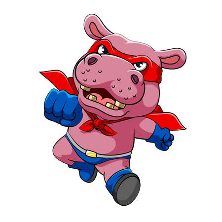 Ilustración de The illustration of the super hippopotamus with the red mask and blue gloves with running pose - Imagen libre de derechos